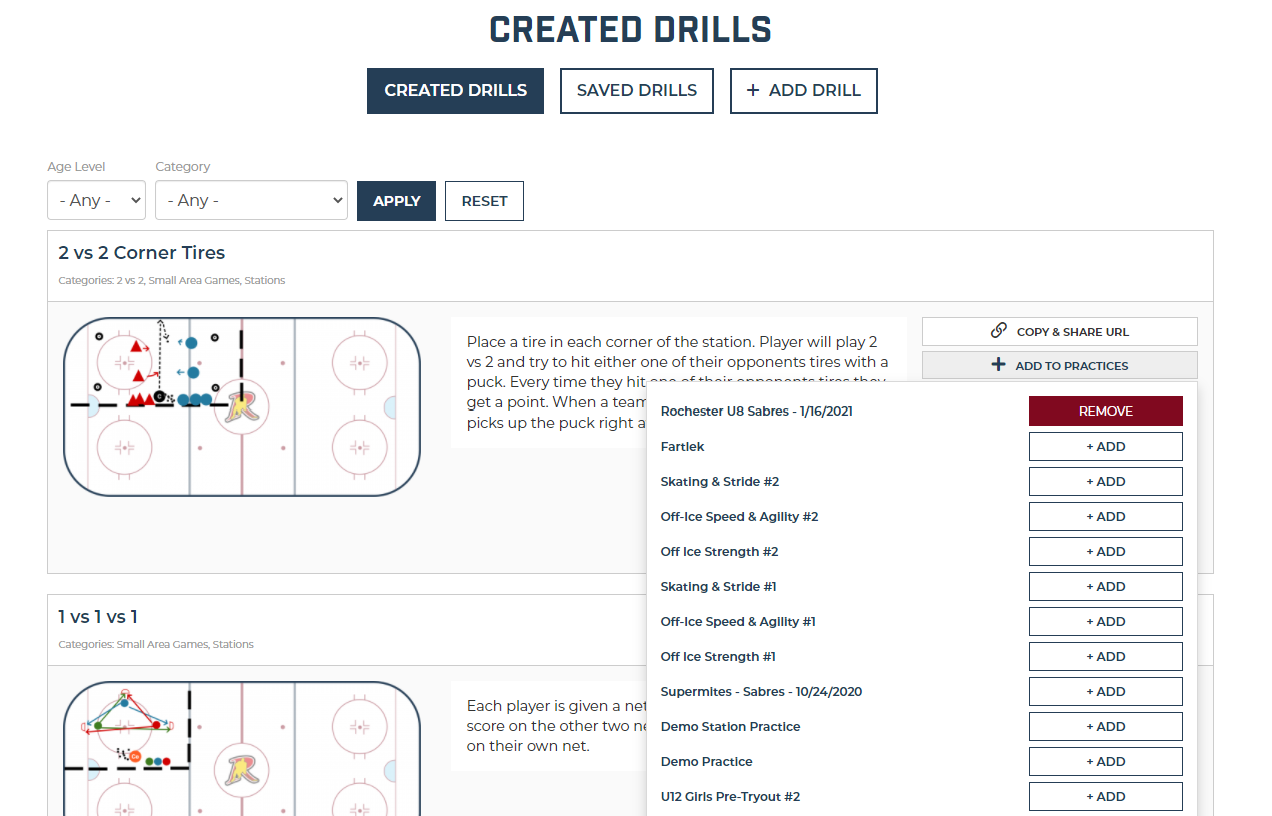 Adding drills from My Drills page