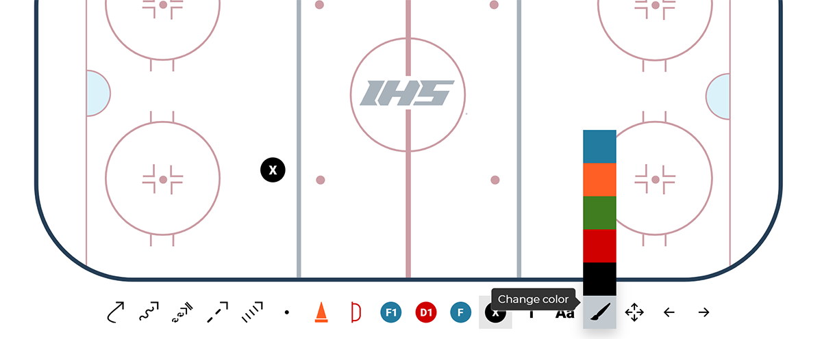 Change the color of objects or lines with the free hockey drill drawing tool.