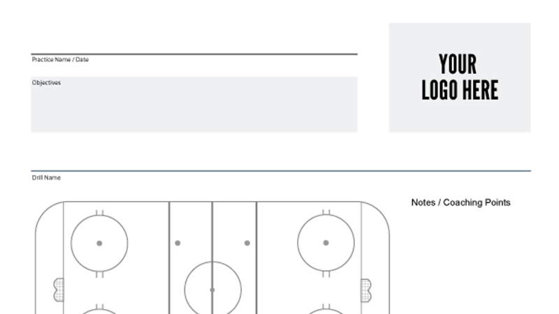 Custom hockey practice sheet with your team's logo