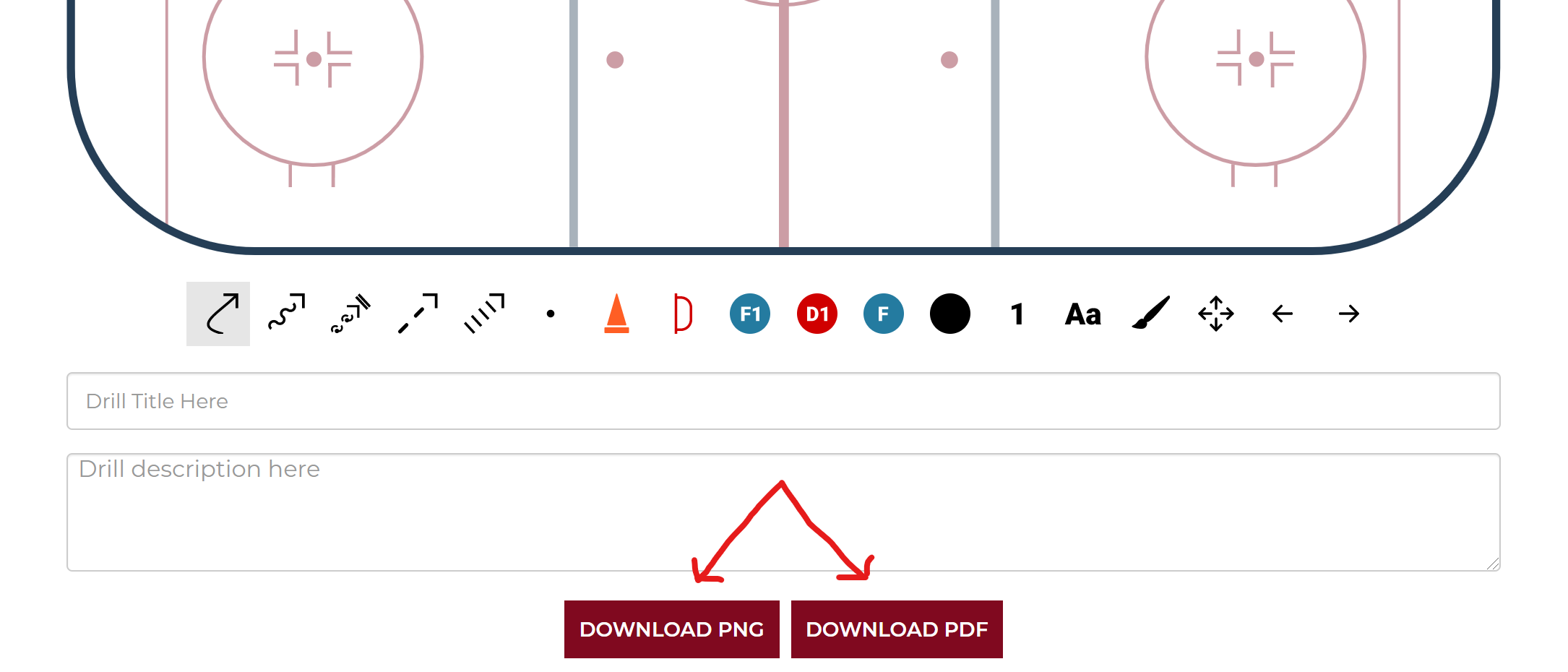 After creating your own hockey drills with the free drawing tool then use the buttons to download as a pdf or png file.