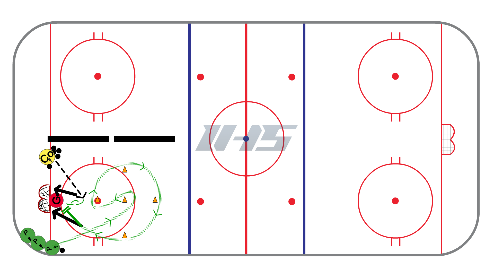 5 Cone 2 Shot Station Ice Hockey Drill