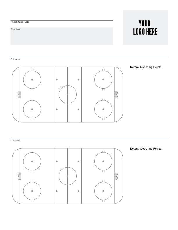 Print a Custom Ice Hockey Practice Plan Sheet