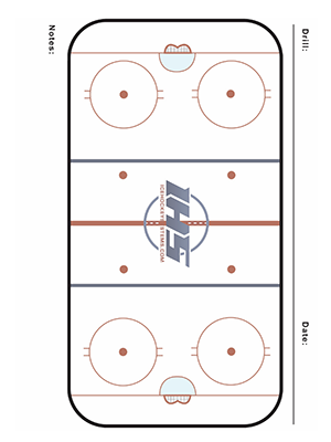 Ice hockey practice sheet with one large rink