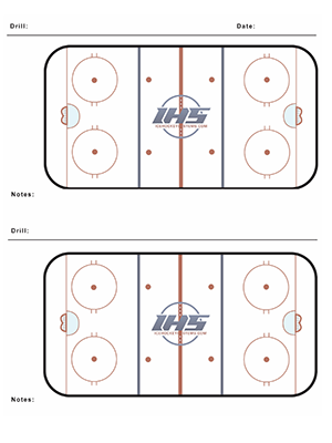 Ice hockey practice sheet with two rinks