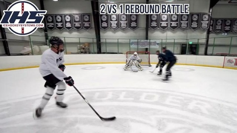2 vs 1 Rebound Battle Ice Hockey Drill