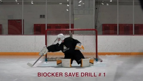 Blocker Save Drill # 1 - Ice Hockey Goalie Drill