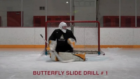 Butterfly Slide Drill # 1 - Ice Hockey Goalie Drill