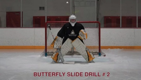Butterfly Slide Drill # 2 - Ice Hockey Goalie Drill