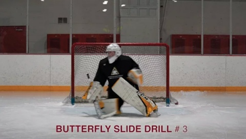 Butterfly Slide Drill # 3 - Ice Hockey Goalie Drill