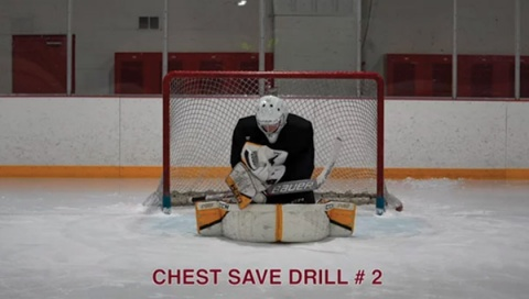 Chest Save Drill # 2 - Ice Hockey Goalie Drill
