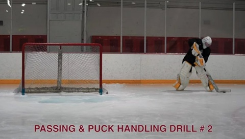 Passing & Puck Handling Drill # 2 - Ice Hockey Goalie Drill