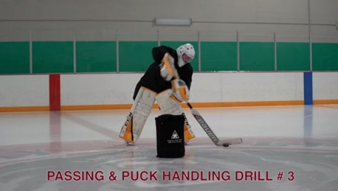 Passing & Puck Handling Drill # 3 - Ice Hockey Goalie Drill