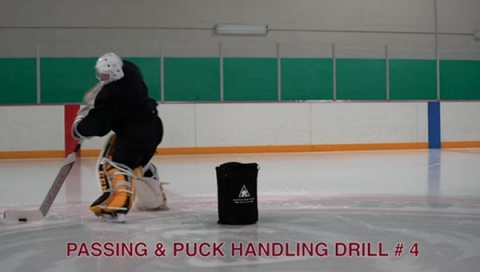 Passing & Puck Handling Drill # 4 - Ice Hockey Goalie Drill