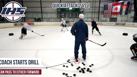 Quick Attack 2 vs 1 Hockey Drill