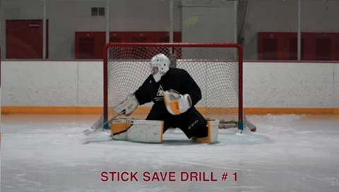 Stick Save Drill # 1 - Ice Hockey Goalie Drill