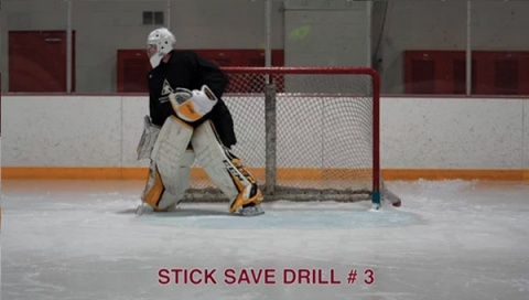 Stick Save Drill #3 - Ice Hockey Goalie Drill