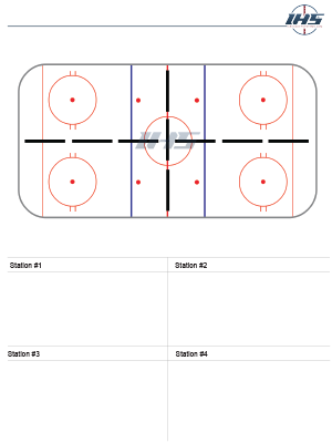 Ice Hockey Drill Sheet with Four Stations to Download and Print