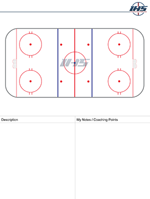 Ice Hockey Drill Sheet for Full Ice Drills to Download and Print
