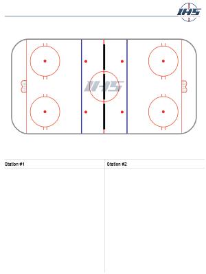 Ice Hockey Drill Sheet for Half Ice Drills