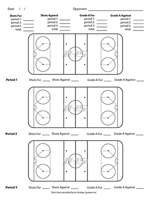 Ice hockey shot chart for downloading and printing