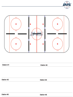 Ice hockey drill sheet with six stations to download and print