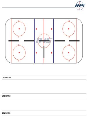 Ice Hockey Drill Sheet with Three Stations, One is Full Length