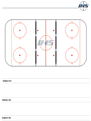Ice hockey drills sheet with three stations to download and print